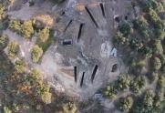 De opgraving van bovenaf gezien