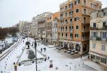 Op Corfu viel voor het eerst in 13 jaar sneeuw