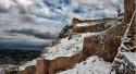 Een besneeuwd kasteel van Korinthe