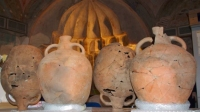 Vroeg-Byzantijnse amforen, gevonden op metrostation Demokratias
