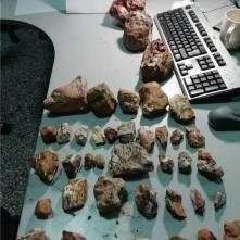 In de bagage van de toeristen werden ook 63 (vulkanische) stenen aangetroffen