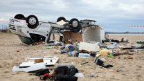 De storm veroorzaakte een ravage op het schiereiland