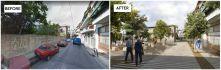Voetgangersgebied van Karavia Straat. en nabijgelegen wegen in de wijk Patisia-Acharnon