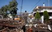 De schade die de storm aanrchtte in Kineta, in west-Attica
