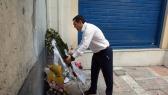 Syriza-leider Alexis Tsipras: legde een krans